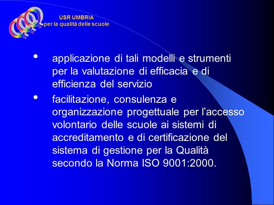 USR UMBRIA per la qualità delle scuole applicazione di tali modelli e strumenti per la valutazione di efficacia e di efficienza del servizio facilitazione, consulenza e organizzazione progettuale per laccesso volontario delle scuole ai sistemi di accreditamento e di certificazione del sistema di gestione per la Qualità secondo la Norma ISO 9001:2000.