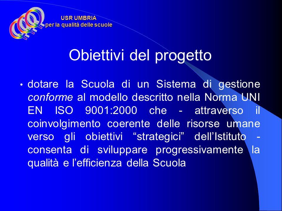 USR UMBRIA per la qualità delle scuole Obiettivi del progetto dotare la Scuola di un Sistema di gestione conforme al modello descritto nella Norma UNI EN ISO 9001:2000 che - attraverso il coinvolgimento coerente delle risorse umane verso gli obiettivi strategici dellIstituto - consenta di sviluppare progressivamente la qualità e lefficienza della Scuola