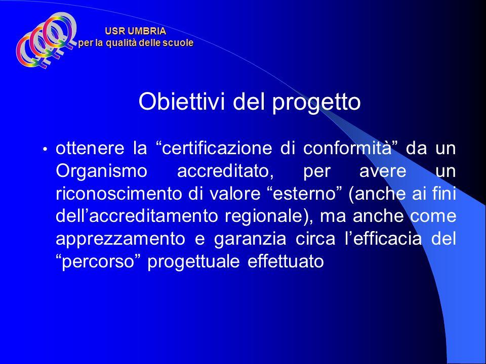 USR UMBRIA per la qualità delle scuole Obiettivi del progetto dotare la Scuola di un Sistema di gestione conforme al modello descritto nella Norma UNI