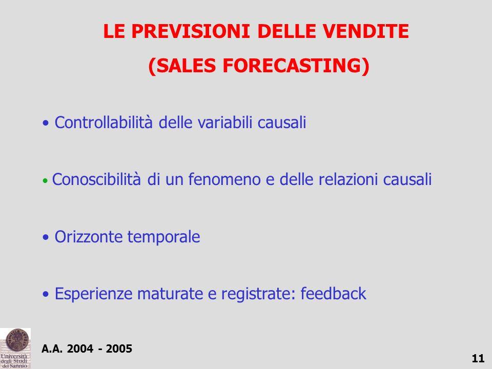 A.A. 2004 - 2005 11 LE PREVISIONI DELLE VENDITE (SALES FORECASTING) Controllabilità delle variabili causali Conoscibilità di un fenomeno e delle relaz