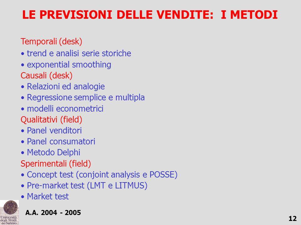A.A. 2004 - 2005 12 LE PREVISIONI DELLE VENDITE: I METODI Temporali (desk) trend e analisi serie storiche exponential smoothing Causali (desk) Relazio