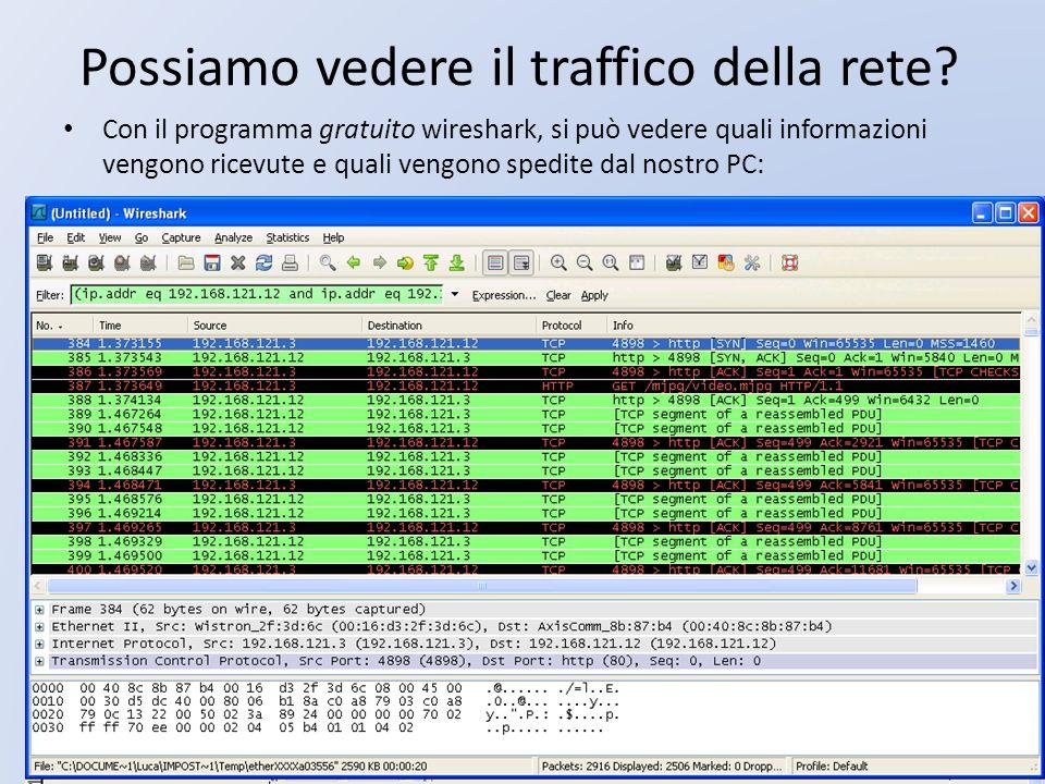 Possiamo vedere il traffico della rete? Con il programma gratuito wireshark, si può vedere quali informazioni vengono ricevute e quali vengono spedite
