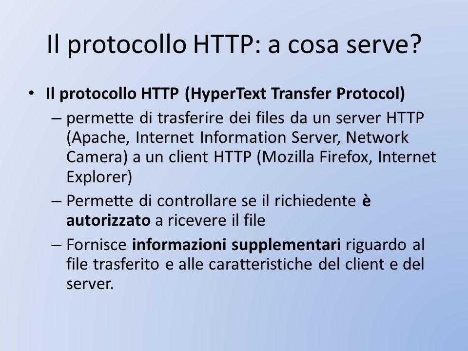 Il protocollo HTTP: a cosa serve? Il protocollo HTTP (HyperText Transfer Protocol) – permette di trasferire dei files da un server HTTP (Apache, Inter