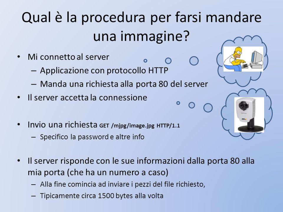 Qual è la procedura per farsi mandare una immagine? Mi connetto al server – Applicazione con protocollo HTTP – Manda una richiesta alla porta 80 del s