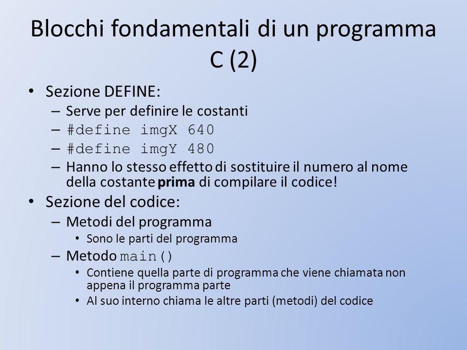 Blocchi fondamentali di un programma C (2) Sezione DEFINE: – Serve per definire le costanti – #define imgX 640 – #define imgY 480 – Hanno lo stesso ef