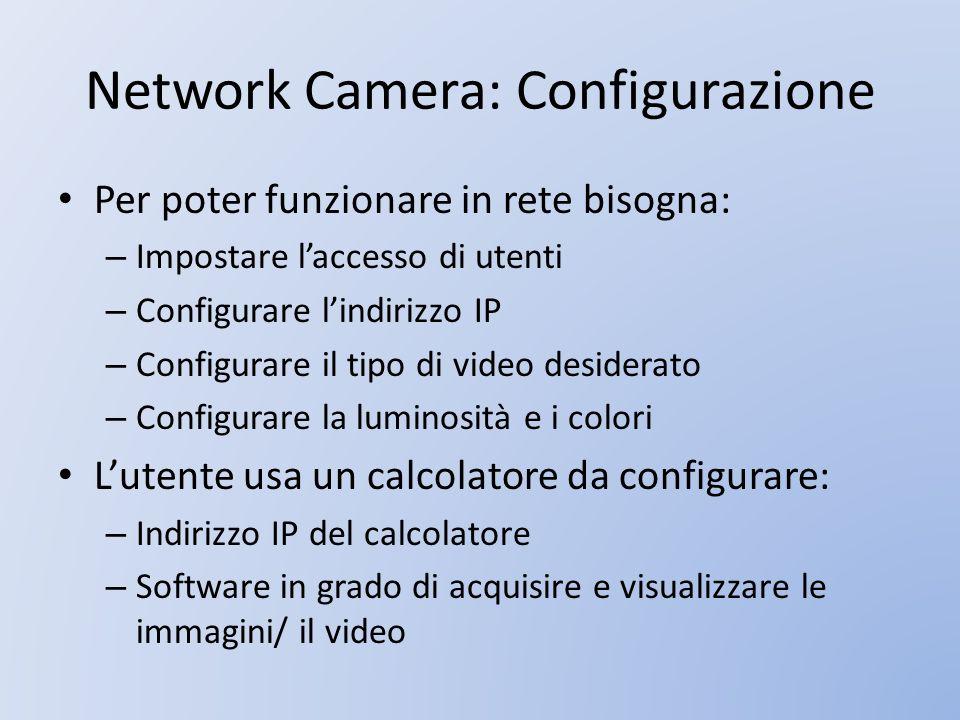 Network Camera: Configurazione Per poter funzionare in rete bisogna: – Impostare laccesso di utenti – Configurare lindirizzo IP – Configurare il tipo