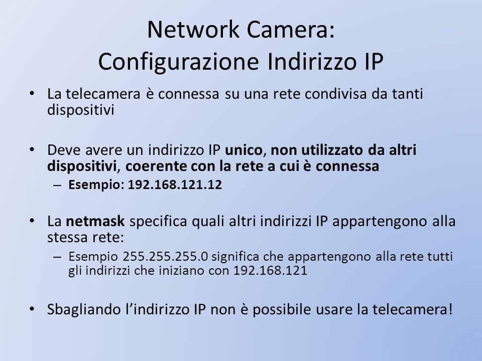Network Camera: Configurazione Indirizzo IP La telecamera è connessa su una rete condivisa da tanti dispositivi Deve avere un indirizzo IP unico, non