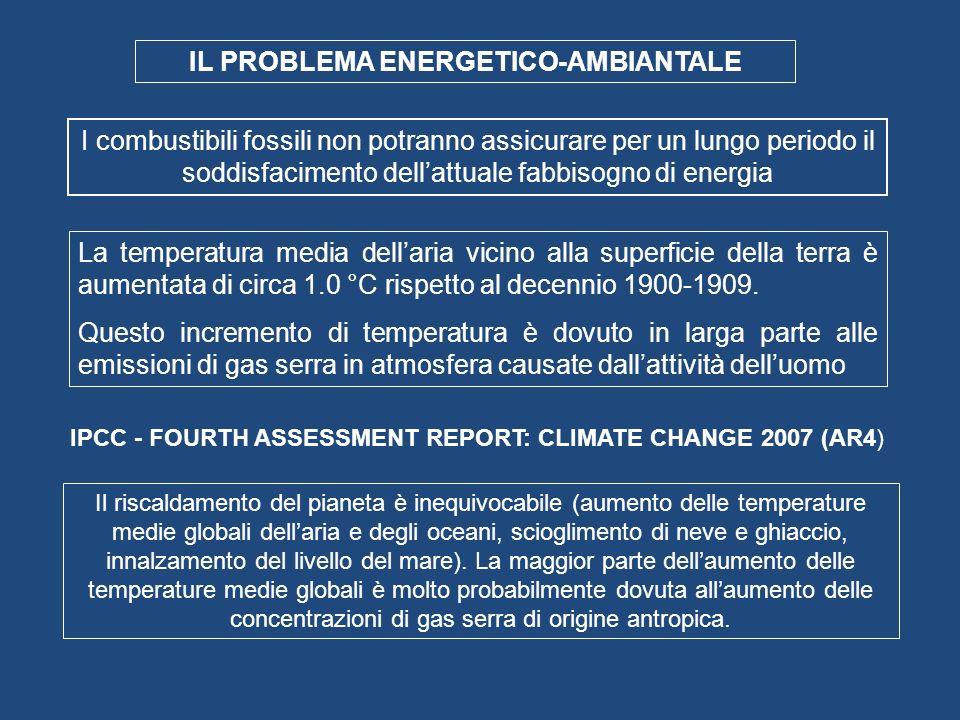 IL PROBLEMA ENERGETICO-AMBIANTALE IPCC - FOURTH ASSESSMENT REPORT: CLIMATE CHANGE 2007 (AR4) Il riscaldamento del pianeta è inequivocabile (aumento de
