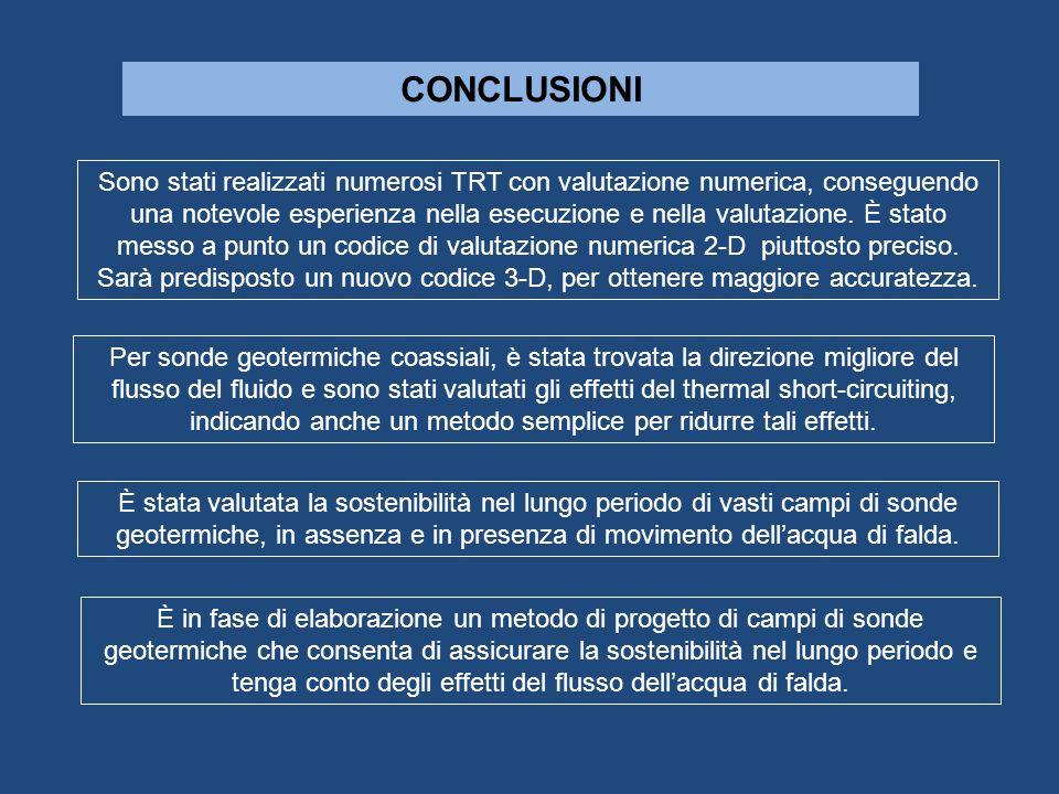 CONCLUSIONI Sono stati realizzati numerosi TRT con valutazione numerica, conseguendo una notevole esperienza nella esecuzione e nella valutazione. È s