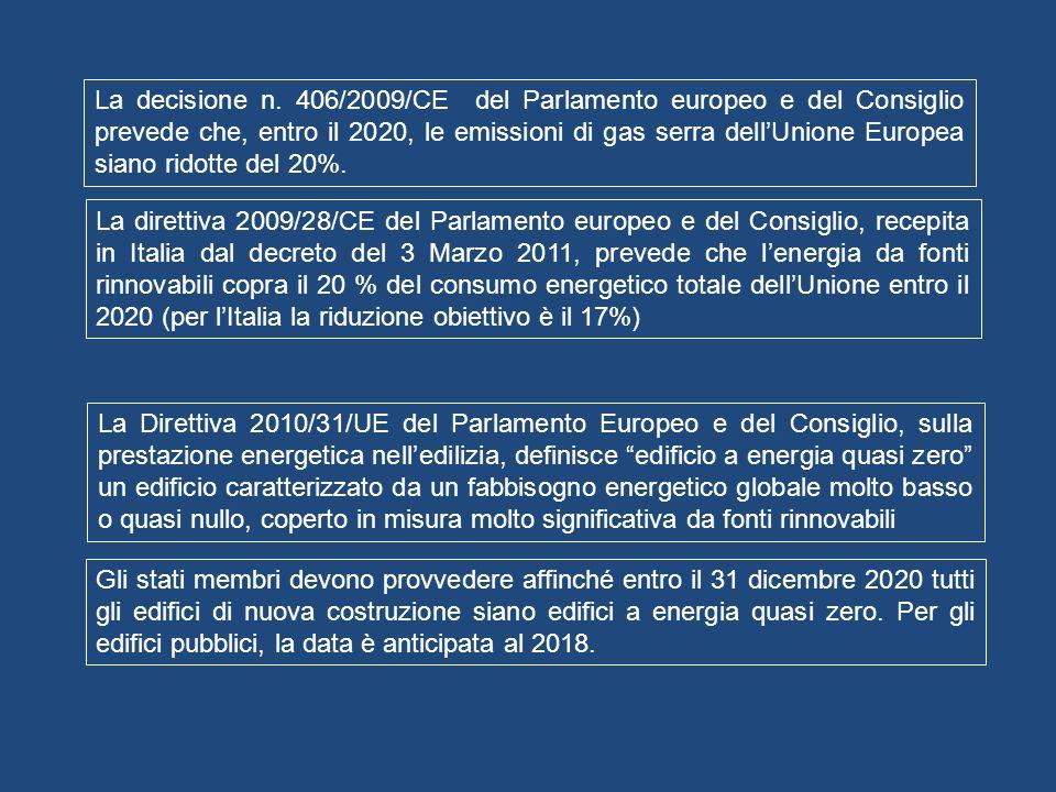 La decisione n. 406/2009/CE del Parlamento europeo e del Consiglio prevede che, entro il 2020, le emissioni di gas serra dellUnione Europea siano rido