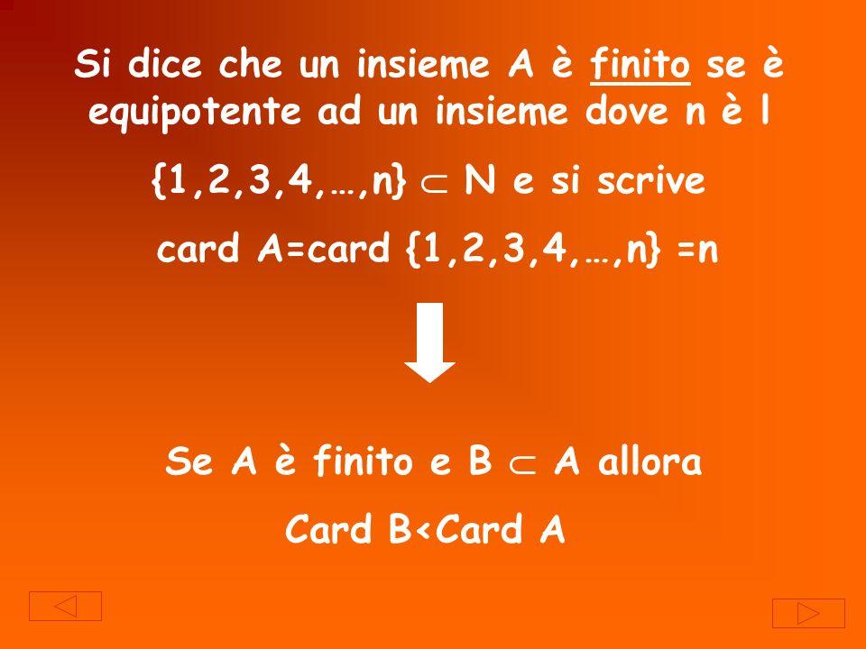 Si dice che un insieme A è finito se è equipotente ad un insieme dove n è l {1,2,3,4,…,n} N e si scrive card A=card {1,2,3,4,…,n} =n Se A è finito e B