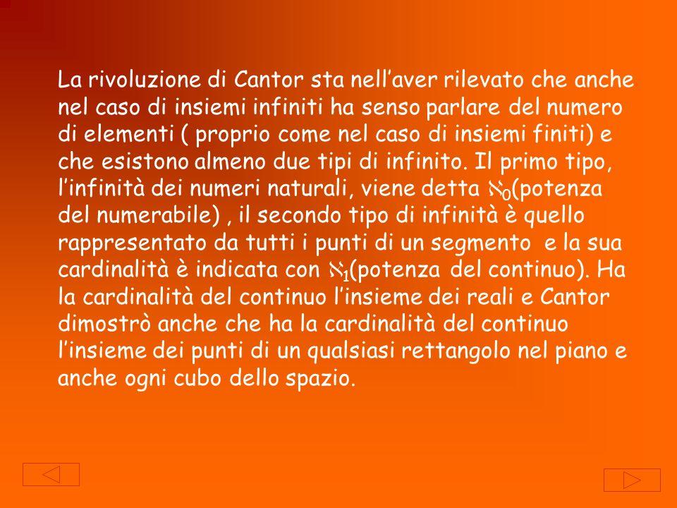 La rivoluzione di Cantor sta nellaver rilevato che anche nel caso di insiemi infiniti ha senso parlare del numero di elementi ( proprio come nel caso