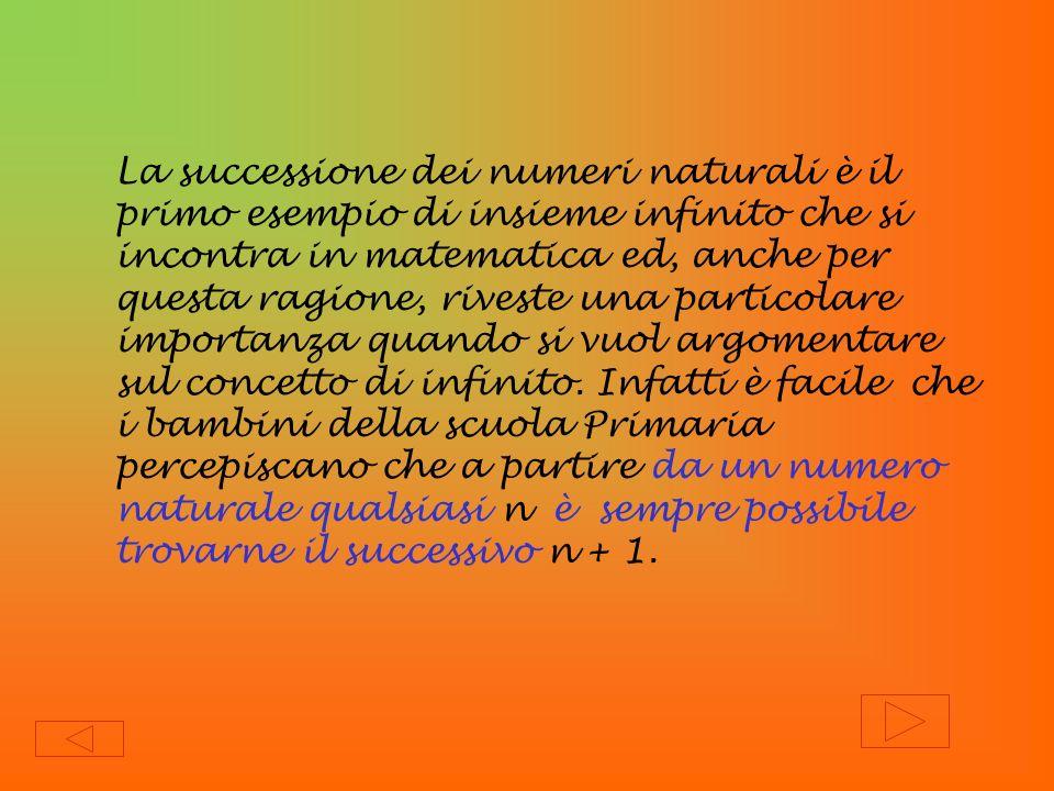 La successione dei numeri naturali è il primo esempio di insieme infinito che si incontra in matematica ed, anche per questa ragione, riveste una part