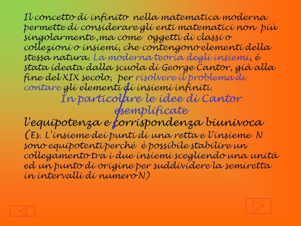 Il concetto di infinito nella matematica moderna permette di considerare gli enti matematici non più singolarmente,ma come oggetti di classi o collezi