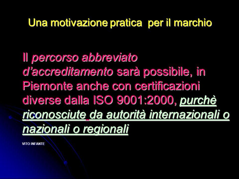 Una motivazione pratica per il marchio Il percorso abbreviato daccreditamento sarà possibile, in Piemonte anche con certificazioni diverse dalla ISO 9001:2000, purchè riconosciute da autorità internazionali o nazionali o regionali VITO INFANTE