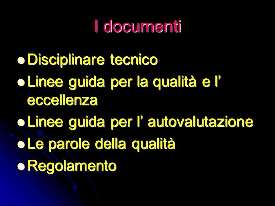 I documenti Disciplinare tecnico Disciplinare tecnico Linee guida per la qualità e l eccellenza Linee guida per la qualità e l eccellenza Linee guida
