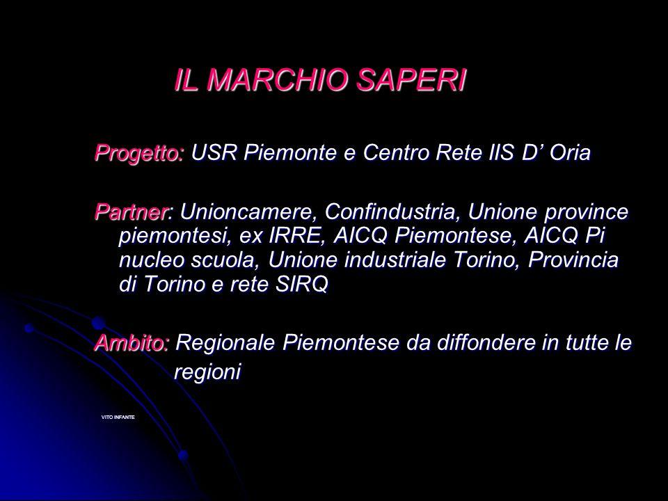 IL MARCHIO SAPERI IL MARCHIO SAPERI Progetto: USR Piemonte e Centro Rete IIS D Oria Partner: Unioncamere, Confindustria, Unione province piemontesi, e