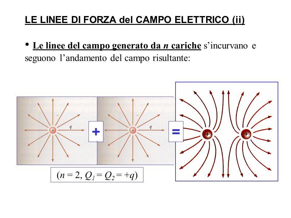 Le linee del campo generato da n cariche sincurvano e seguono landamento del campo risultante: += LE LINEE DI FORZA del CAMPO ELETTRICO (ii) (n = 2, Q 1 = Q 2 = +q)