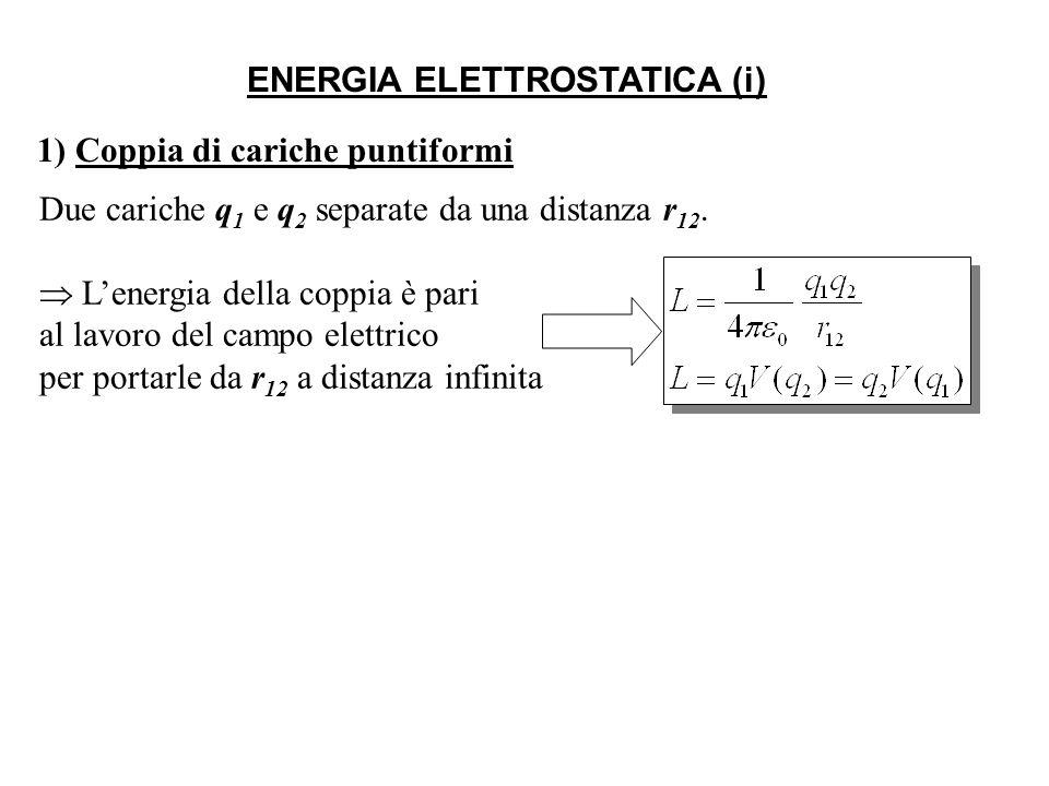 ENERGIA ELETTROSTATICA (i) 1) Coppia di cariche puntiformi Due cariche q 1 e q 2 separate da una distanza r 12.