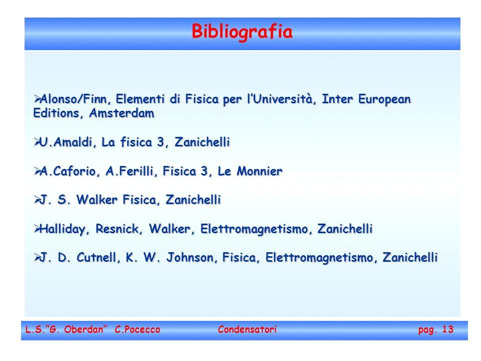 Bibliografia L.S.G. Oberdan C.Pocecco Condensatori pag. 13 Alonso/Finn, Elementi di Fisica per lUniversità, Inter European Editions, Amsterdam Alonso/