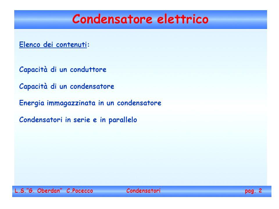 Condensatore elettrico L.S.G. Oberdan C.Pocecco Condensatori pag. 2 Elenco dei contenuti: Capacità di un conduttore Capacità di un condensatore Energi