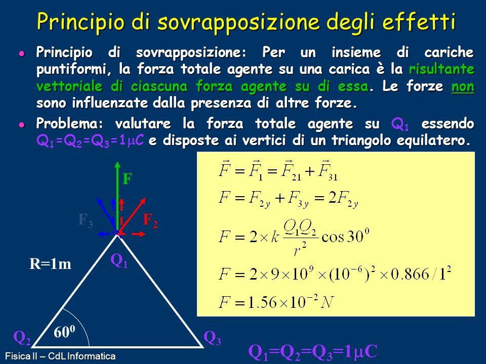 Fisica II – CdL Informatica Principio di sovrapposizione degli effetti Principio di sovrapposizione: Per un insieme di cariche puntiformi, la forza to