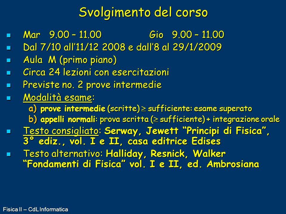Fisica II – CdL Informatica Svolgimento del corso Mar 9.00 – 11.00Gio 9.00 – 11.00 Mar 9.00 – 11.00Gio 9.00 – 11.00 Dal 7/10 all11/12 2008 e dall8 al