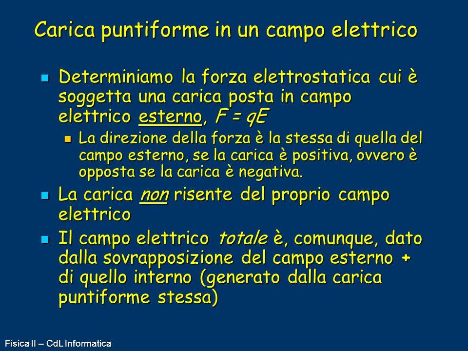 Fisica II – CdL Informatica Carica puntiforme in un campo elettrico Determiniamo la forza elettrostatica cui è soggetta una carica posta in campo elet