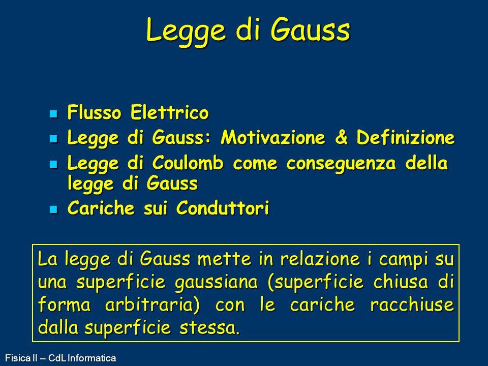 Fisica II – CdL Informatica Flusso Elettrico Flusso Elettrico Legge di Gauss: Motivazione & Definizione Legge di Gauss: Motivazione & Definizione Legg
