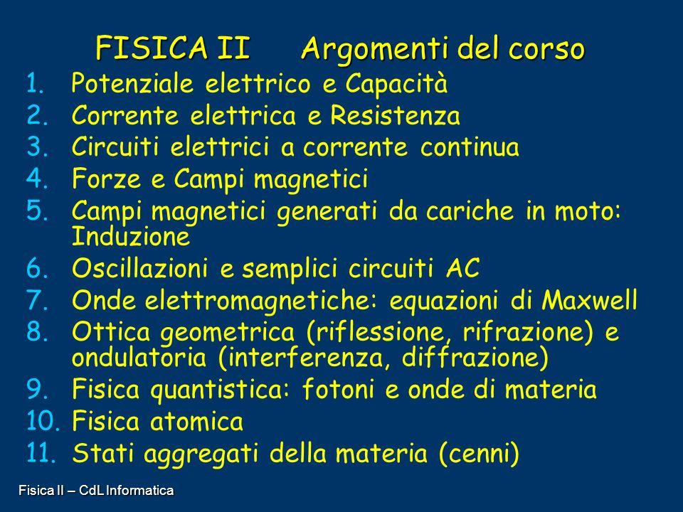 Fisica II – CdL Informatica FISICA II Argomenti del corso 1. 1.Potenziale elettrico e Capacità 2. 2.Corrente elettrica e Resistenza 3. 3.Circuiti elet