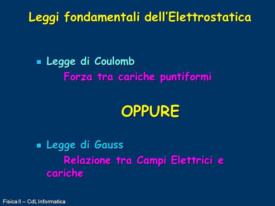 Fisica II – CdL Informatica Leggi fondamentali dellElettrostatica Legge di Coulomb Legge di Coulomb Forza tra cariche puntiformi OPPURE Legge di Gauss