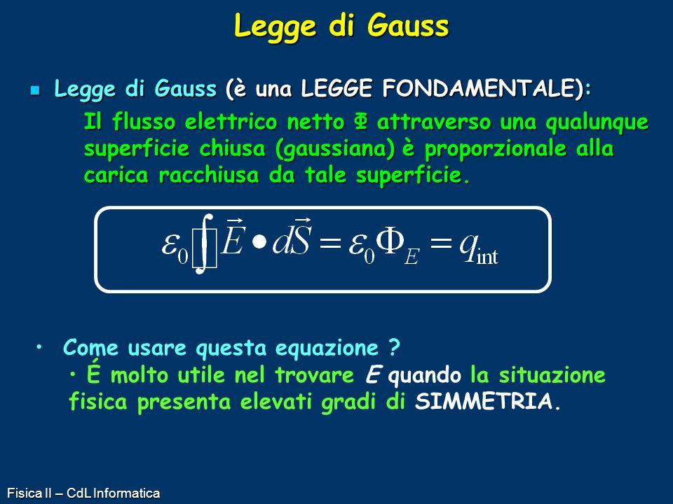 Fisica II – CdL Informatica Legge di Gauss Legge di Gauss (è una LEGGE FONDAMENTALE): Legge di Gauss (è una LEGGE FONDAMENTALE): Il flusso elettrico n