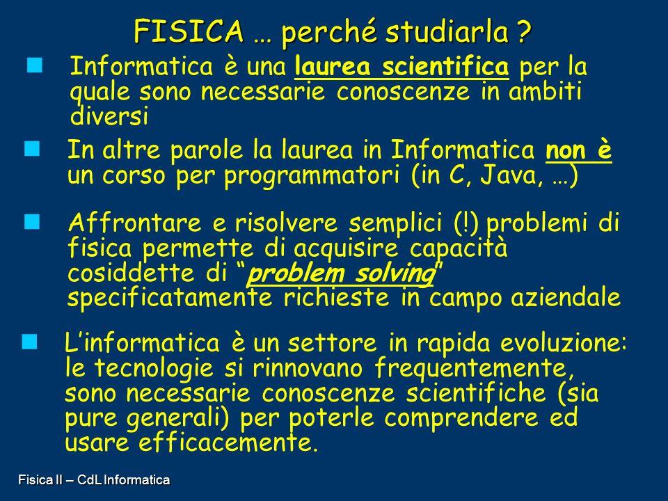 Fisica II – CdL Informatica FISICA … perché studiarla ? Informatica è una laurea scientifica per la quale sono necessarie conoscenze in ambiti diversi