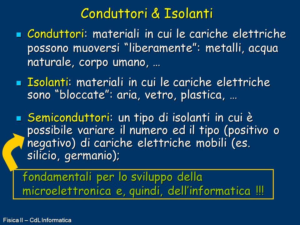 Fisica II – CdL Informatica Conduttori & Isolanti Conduttori: materiali in cui le cariche elettriche possono muoversi liberamente: metalli, acqua natu