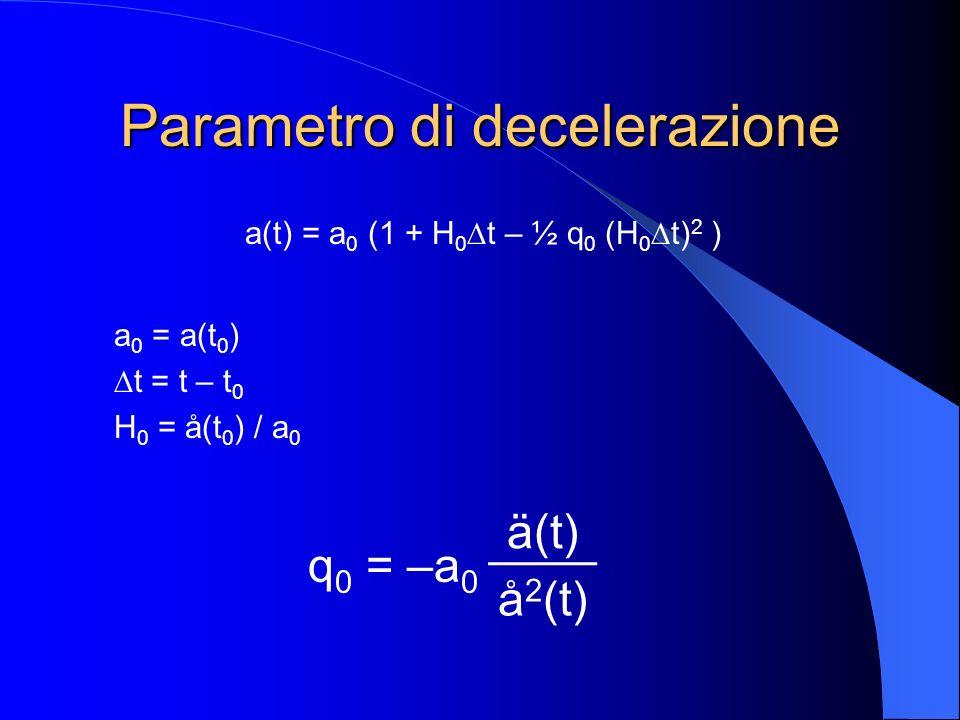 Spostamento verso il rosso e distanza di luminosità z = 0 / e – 1 = a 0 /a(t) – 1 d L = L½L½ = c ( z + ½ (1 – q 0 ) z 2 ) (4 l) ½ H0H0