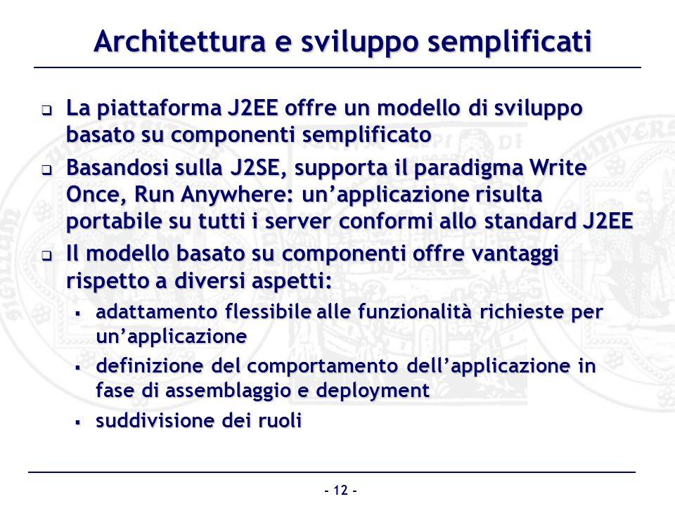 Architettura e sviluppo semplificati La piattaforma J2EE offre un modello di sviluppo basato su componenti semplificato La piattaforma J2EE offre un m
