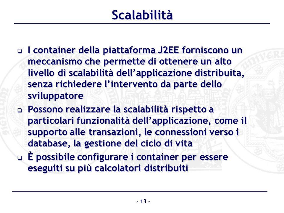 Scalabilità I container della piattaforma J2EE forniscono un meccanismo che permette di ottenere un alto livello di scalabilità dellapplicazione distr