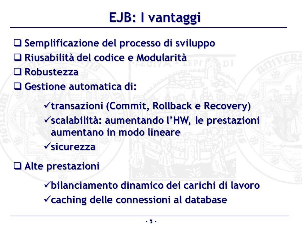 EJB Server: Application Server EJB Server: Application Server EJB Container: gestisce gli EJB EJB Container: gestisce gli EJB Enterprise Bean Instance: una istanza di EJB Enterprise Bean Instance: una istanza di EJB Client: utilizzatore finale del bean Client: utilizzatore finale del bean - 6 - EJB: larchitettura