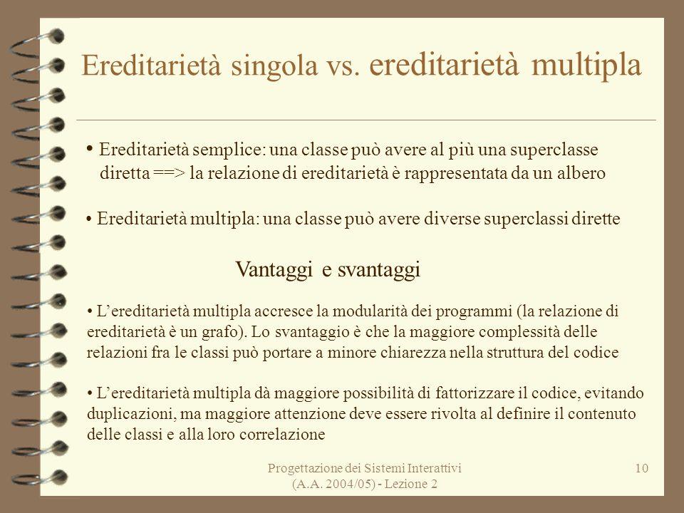 Progettazione dei Sistemi Interattivi (A.A. 2004/05) - Lezione 2 10 Ereditarietà singola vs. ereditarietà multipla Ereditarietà semplice: una classe p