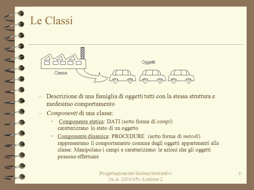 Progettazione dei Sistemi Interattivi (A.A. 2004/05) - Lezione 2 3 Le Classi –Descrizione di una famiglia di oggetti tutti con la stessa struttura e m
