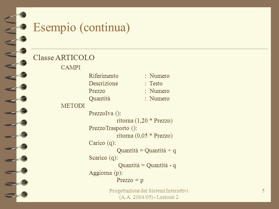 Progettazione dei Sistemi Interattivi (A.A. 2004/05) - Lezione 2 5 Esempio (continua) Classe ARTICOLO CAMPI Riferimento: Numero Descrizione: Testo Pre