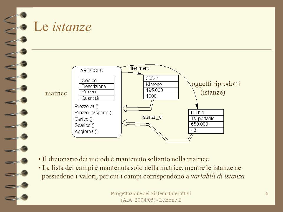 Progettazione dei Sistemi Interattivi (A.A. 2004/05) - Lezione 2 6 Le istanze Il dizionario dei metodi è mantenuto soltanto nella matrice La lista dei
