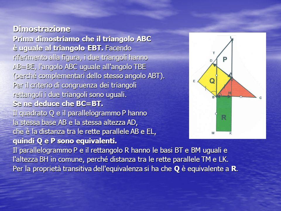 Dimostrazione Prima dimostriamo che il triangolo ABC è uguale al triangolo EBT. Facendo riferimento alla figura, i due triangoli hanno AB=BE, l'angolo