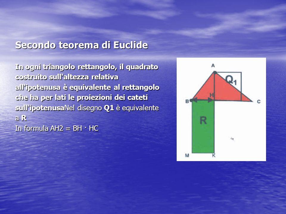 Secondo teorema di Euclide In ogni triangolo rettangolo, il quadrato costruito sull'altezza relativa all'ipotenusa è equivalente al rettangolo che ha