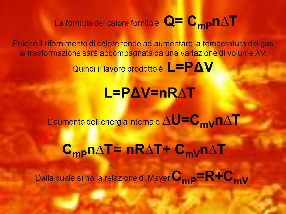 La formula del calore fornito è Q= C mP nT Poiché il rifornimento di calore tende ad aumentare la temperatura del gas la trasformazione sarà accompagn