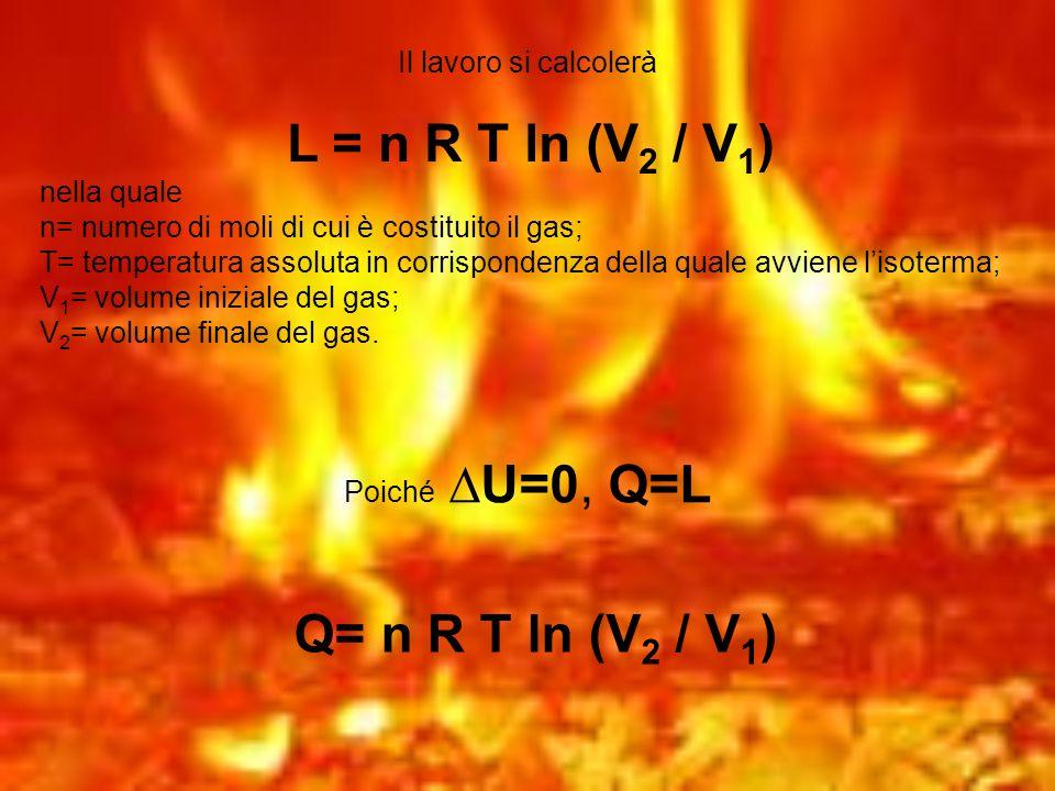 Il lavoro si calcolerà L = n R T ln (V 2 / V 1 ) nella quale n= numero di moli di cui è costituito il gas; T= temperatura assoluta in corrispondenza d