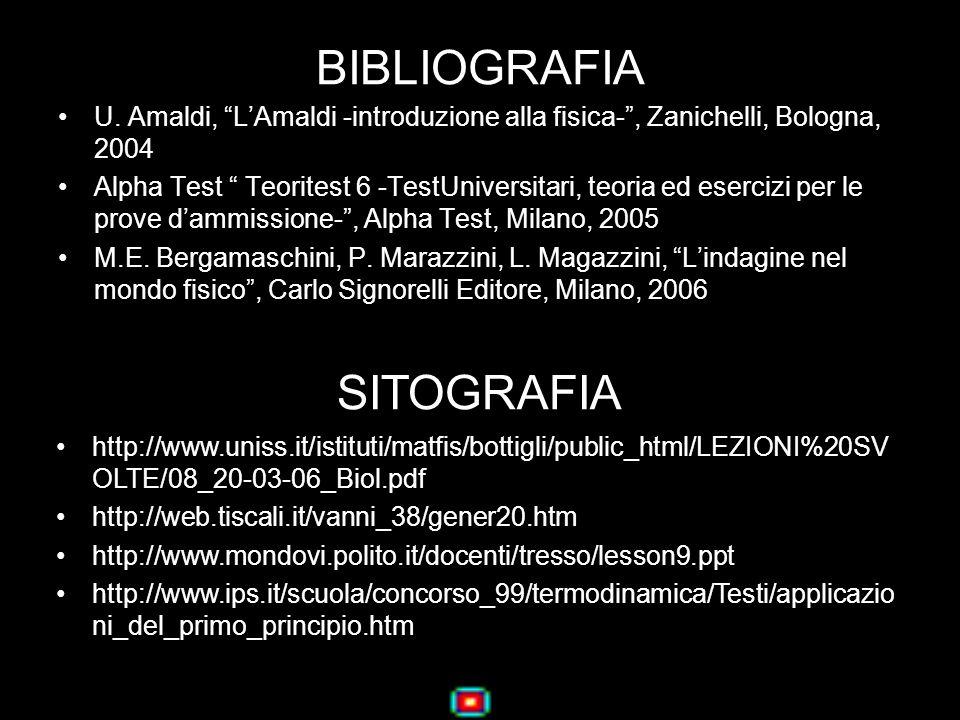 BIBLIOGRAFIA U. Amaldi, LAmaldi -introduzione alla fisica-, Zanichelli, Bologna, 2004 Alpha Test Teoritest 6 -TestUniversitari, teoria ed esercizi per