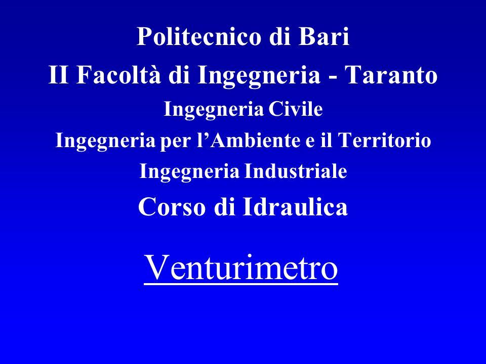 Venturimetro Politecnico di Bari II Facoltà di Ingegneria - Taranto Ingegneria Civile Ingegneria per lAmbiente e il Territorio Ingegneria Industriale