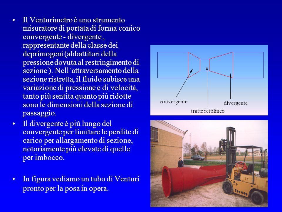 2 Il Venturimetro è uno strumento misuratore di portata di forma conico convergente - divergente, rappresentante della classe dei deprimogeni (abbatti