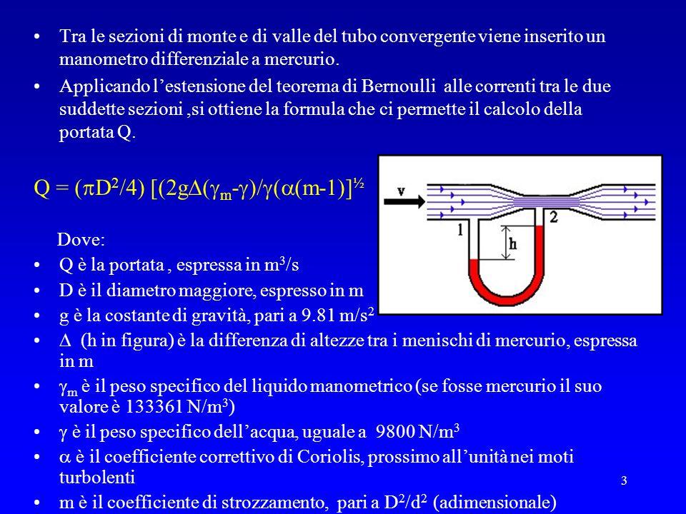 3 Tra le sezioni di monte e di valle del tubo convergente viene inserito un manometro differenziale a mercurio. Applicando lestensione del teorema di